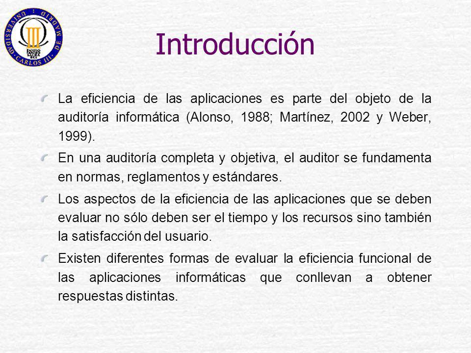 Introducción La eficiencia de las aplicaciones es parte del objeto de la auditoría informática (Alonso, 1988; Martínez, 2002 y Weber, 1999). En una au