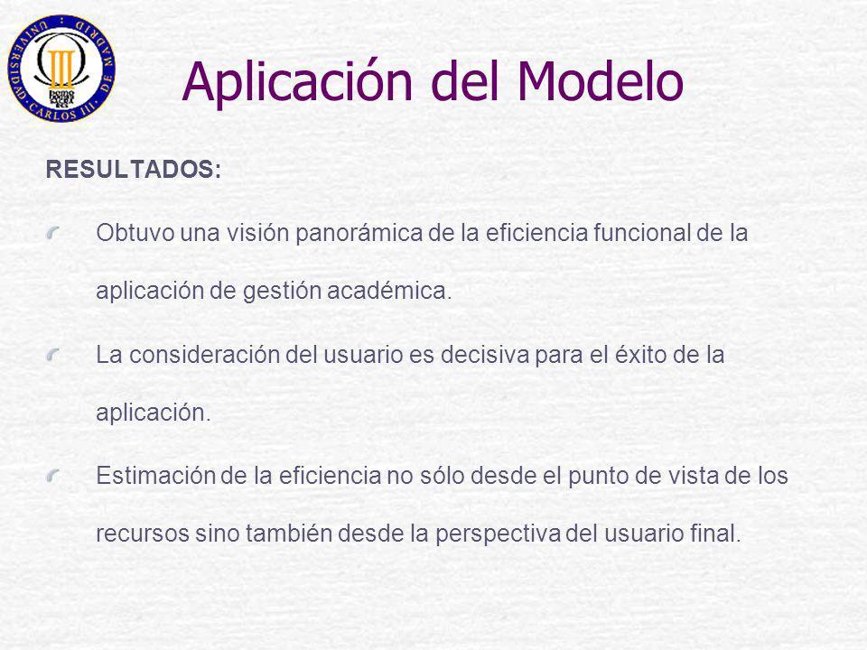 Aplicación del Modelo RESULTADOS: Obtuvo una visión panorámica de la eficiencia funcional de la aplicación de gestión académica. La consideración del