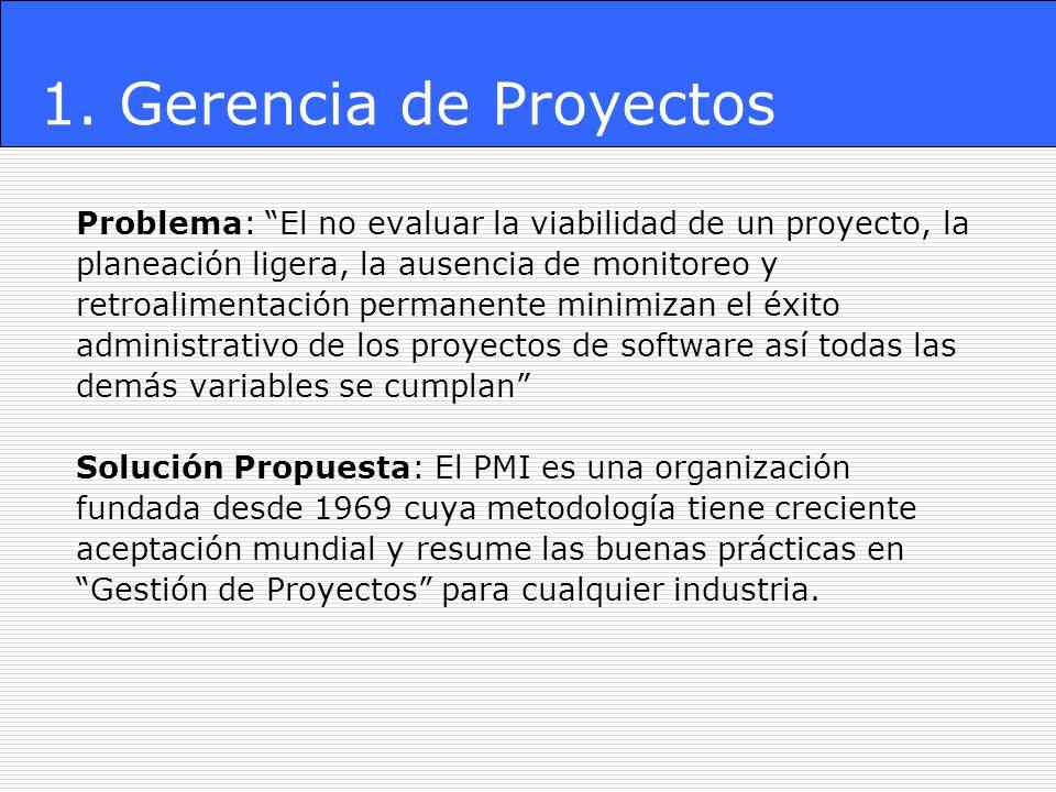 Problema: El no evaluar la viabilidad de un proyecto, la planeación ligera, la ausencia de monitoreo y retroalimentación permanente minimizan el éxito