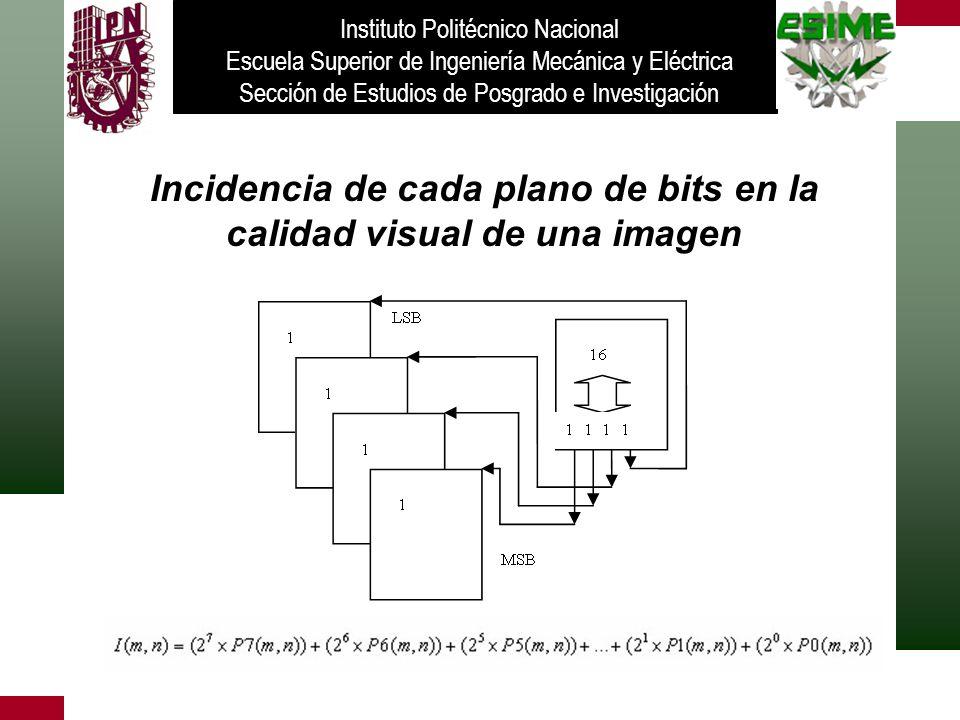 Incidencia de cada plano de bits en la calidad visual de una imagen Instituto Politécnico Nacional Escuela Superior de Ingeniería Mecánica y Eléctrica