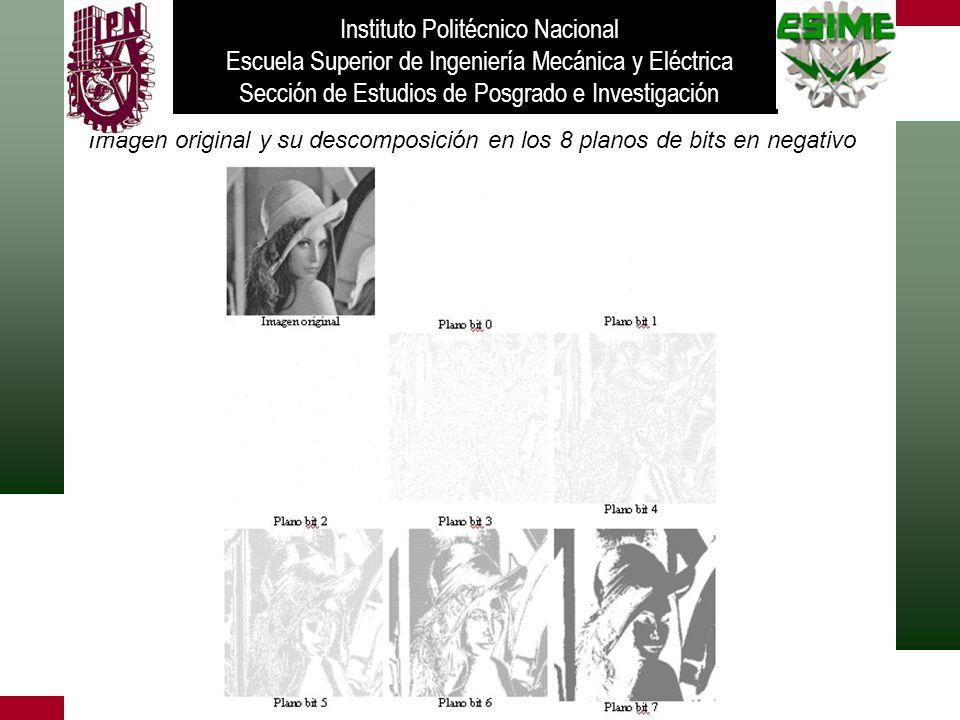 Imagen original y su descomposición en los 8 planos de bits en negativo Instituto Politécnico Nacional Escuela Superior de Ingeniería Mecánica y Eléct
