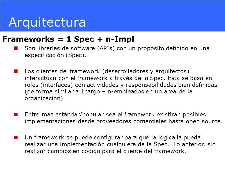 Frameworks = 1 Spec + n-Impl Son librerías de software (APIs) con un propósito definido en una especificación (Spec). Los clientes del framework (desa
