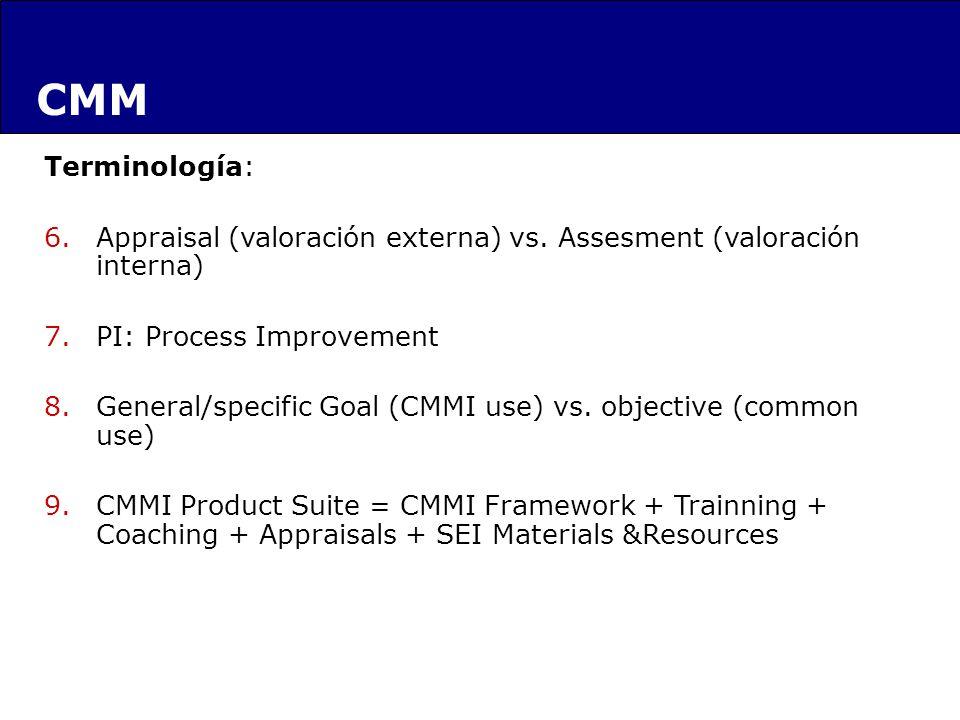 Terminología: 6.Appraisal (valoración externa) vs. Assesment (valoración interna) 7.PI: Process Improvement 8.General/specific Goal (CMMI use) vs. obj