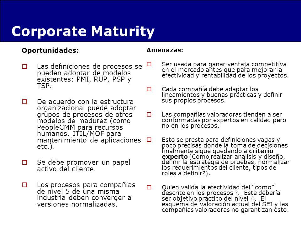 Oportunidades: Las definiciones de procesos se pueden adoptar de modelos existentes: PMI, RUP, PSP y TSP. De acuerdo con la estructura organizacional