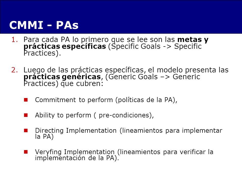 1.Para cada PA lo primero que se lee son las metas y prácticas específicas (Specific Goals -> Specific Practices). 2.Luego de las prácticas específica