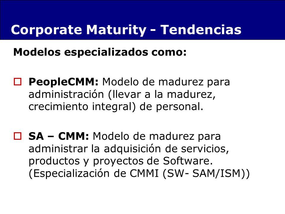 Modelos especializados como: PeopleCMM: Modelo de madurez para administración (llevar a la madurez, crecimiento integral) de personal. SA – CMM: Model