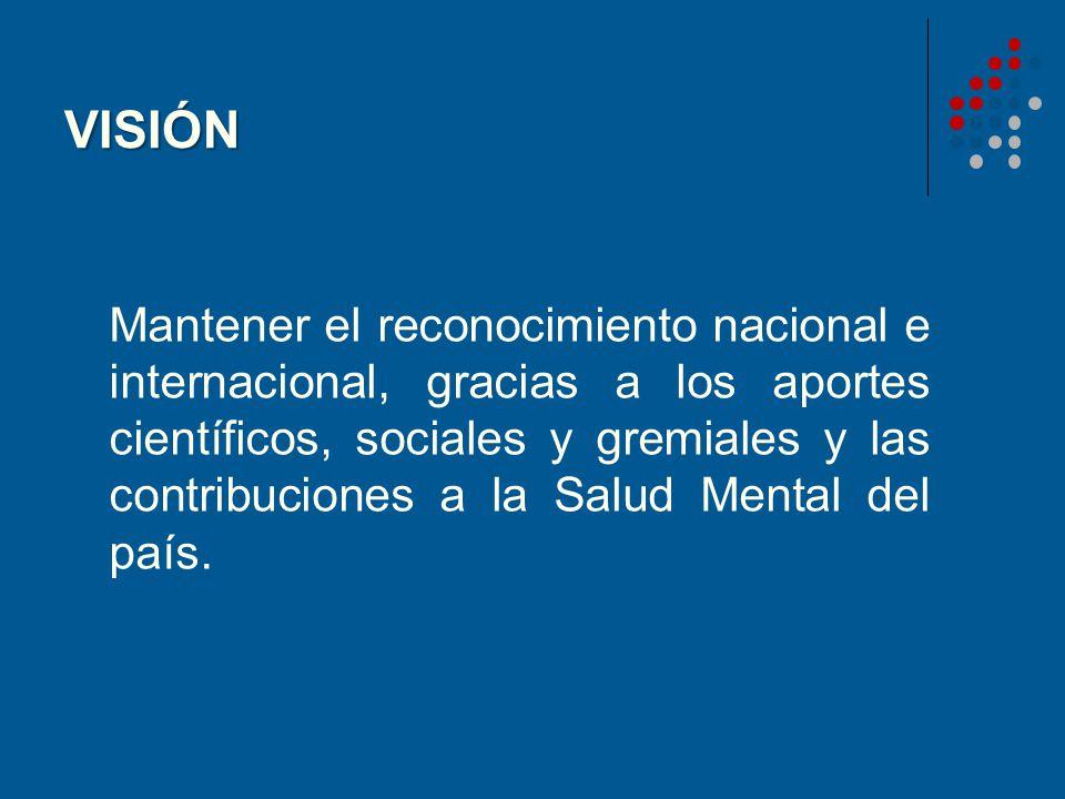 VISIÓN Mantener el reconocimiento nacional e internacional, gracias a los aportes científicos, sociales y gremiales y las contribuciones a la Salud Me