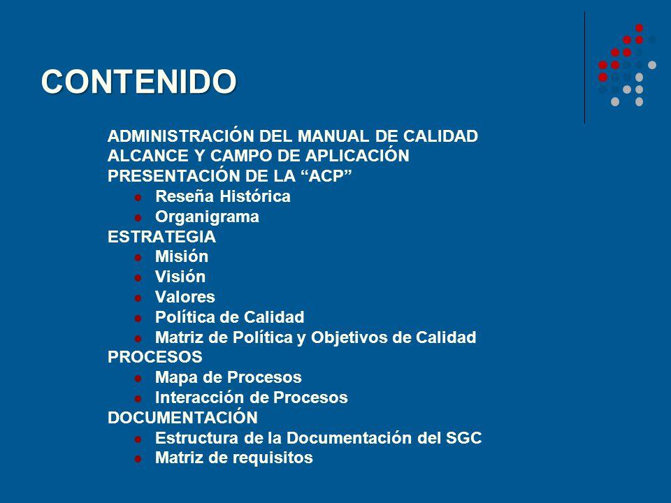 CONTENIDO ADMINISTRACIÓN DEL MANUAL DE CALIDAD ALCANCE Y CAMPO DE APLICACIÓN PRESENTACIÓN DE LA ACP Reseña Histórica Organigrama ESTRATEGIA Misión Vis