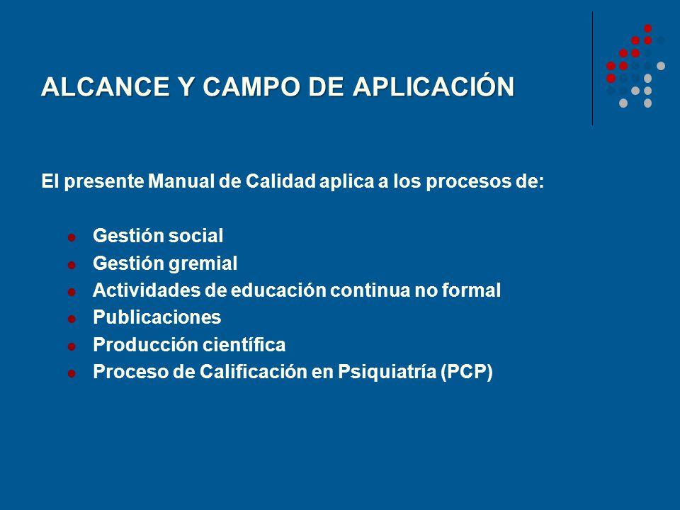 ALCANCE Y CAMPO DE APLICACIÓN El presente Manual de Calidad aplica a los procesos de: Gestión social Gestión gremial Actividades de educación continua