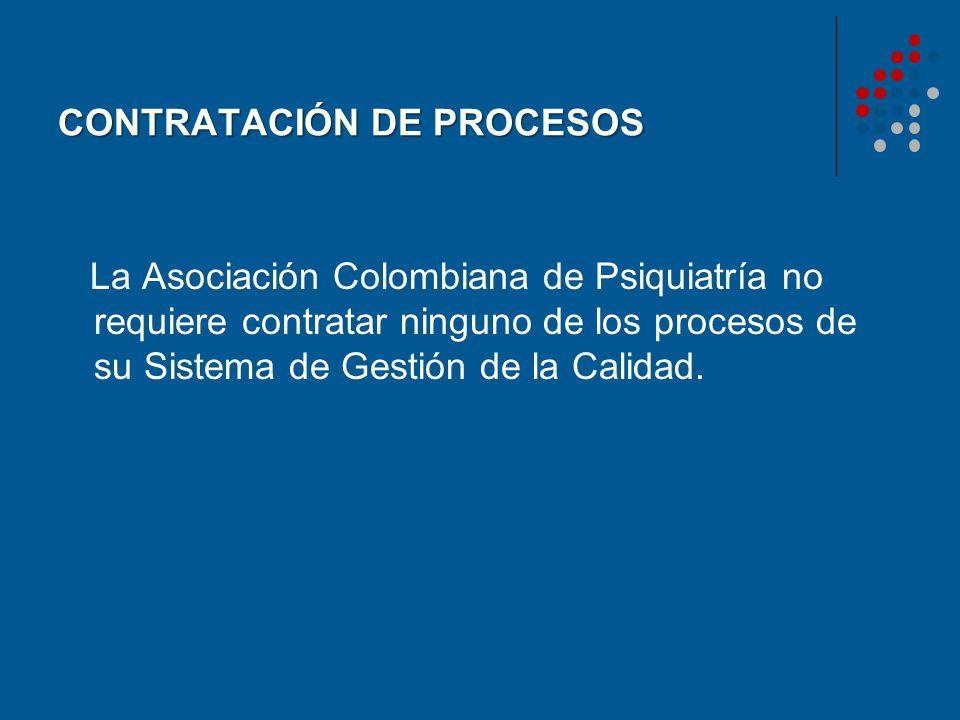 CONTRATACIÓN DE PROCESOS La Asociación Colombiana de Psiquiatría no requiere contratar ninguno de los procesos de su Sistema de Gestión de la Calidad.