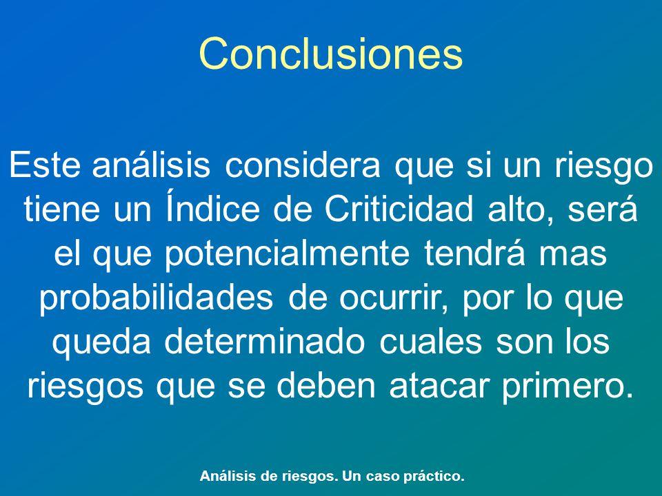 Conclusiones Análisis de riesgos.Un caso práctico.