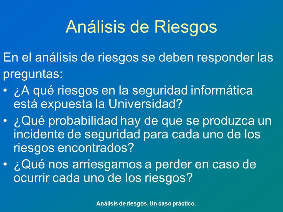 Análisis de Riesgos En el análisis de riesgos se deben responder las preguntas: ¿A qué riesgos en la seguridad informática está expuesta la Universidad.