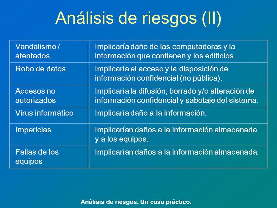 Análisis de riesgos (II) Análisis de riesgos. Un caso práctico. Vandalismo / atentados Implicaría daño de las computadoras y la información que contie