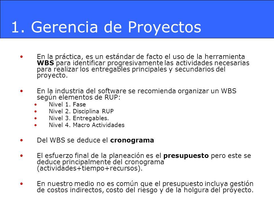 En la práctica, es un estándar de facto el uso de la herramienta WBS para identificar progresivamente las actividades necesarias para realizar los ent