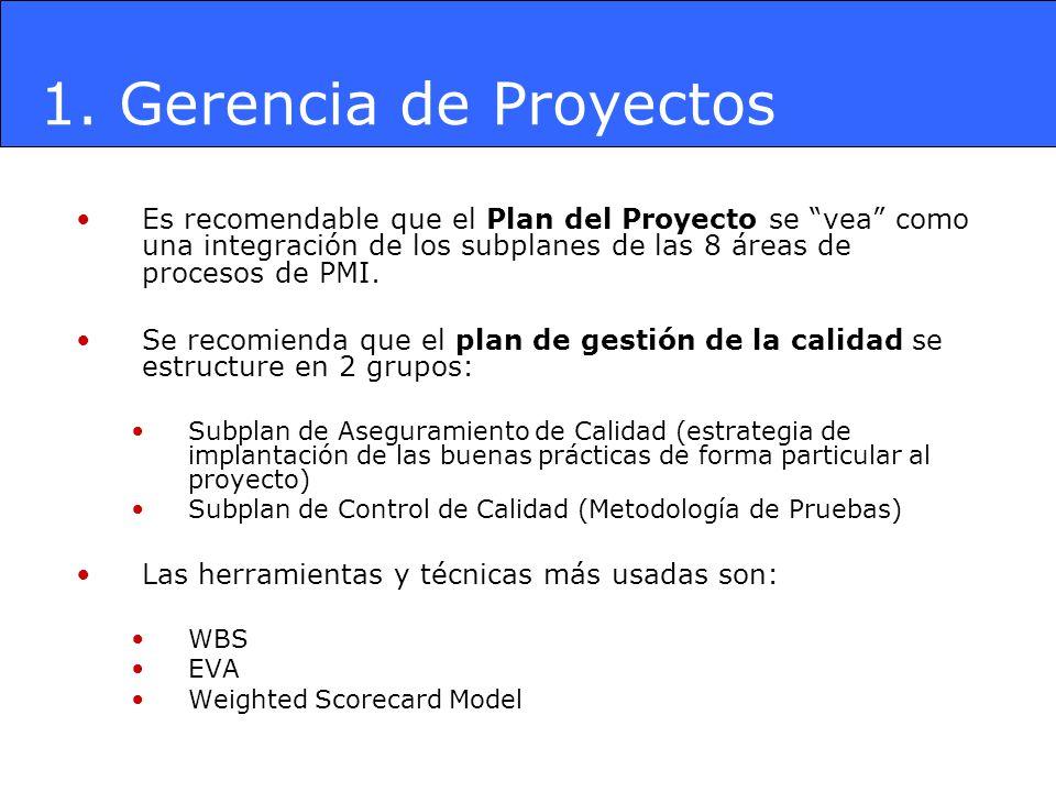 Es recomendable que el Plan del Proyecto se vea como una integración de los subplanes de las 8 áreas de procesos de PMI. Se recomienda que el plan de