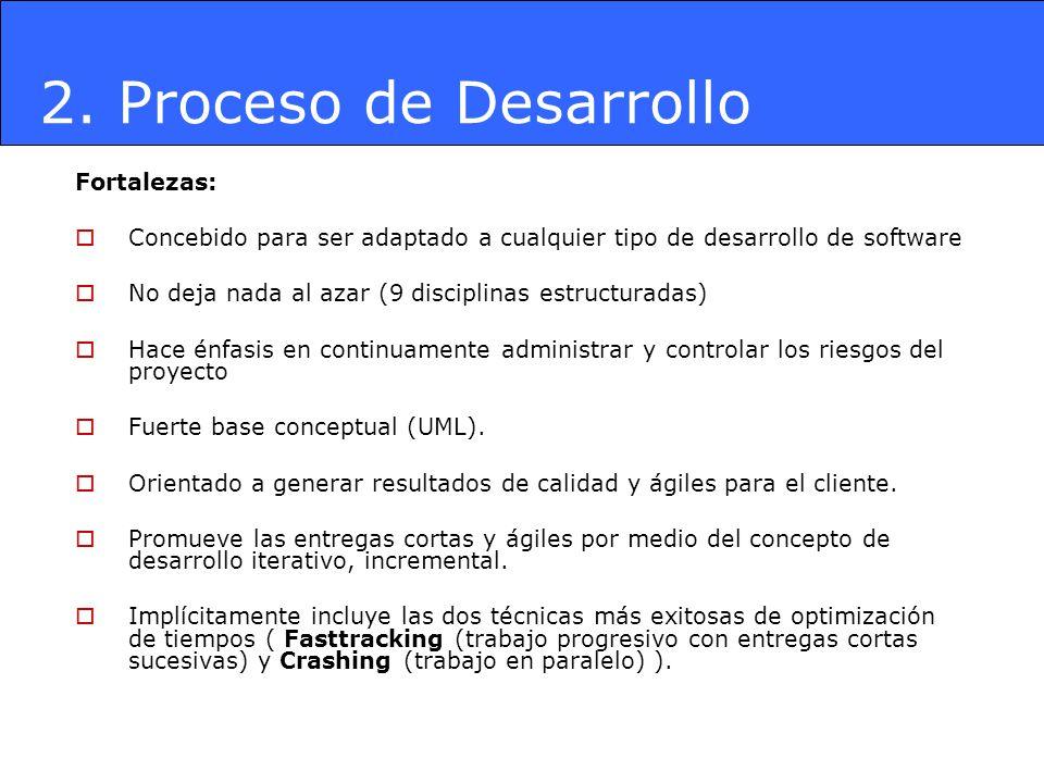 2. Proceso de Desarrollo Fortalezas: Concebido para ser adaptado a cualquier tipo de desarrollo de software No deja nada al azar (9 disciplinas estruc