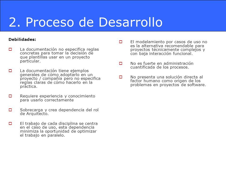 2. Proceso de Desarrollo Debilidades: La documentación no especifica reglas concretas para tomar la decisión de que plantillas usar en un proyecto par