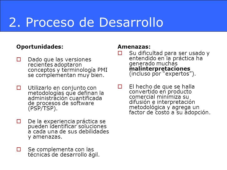 2. Proceso de Desarrollo Oportunidades: Dado que las versiones recientes adoptaron conceptos y terminología PMI se complementan muy bien. Utilizarlo e