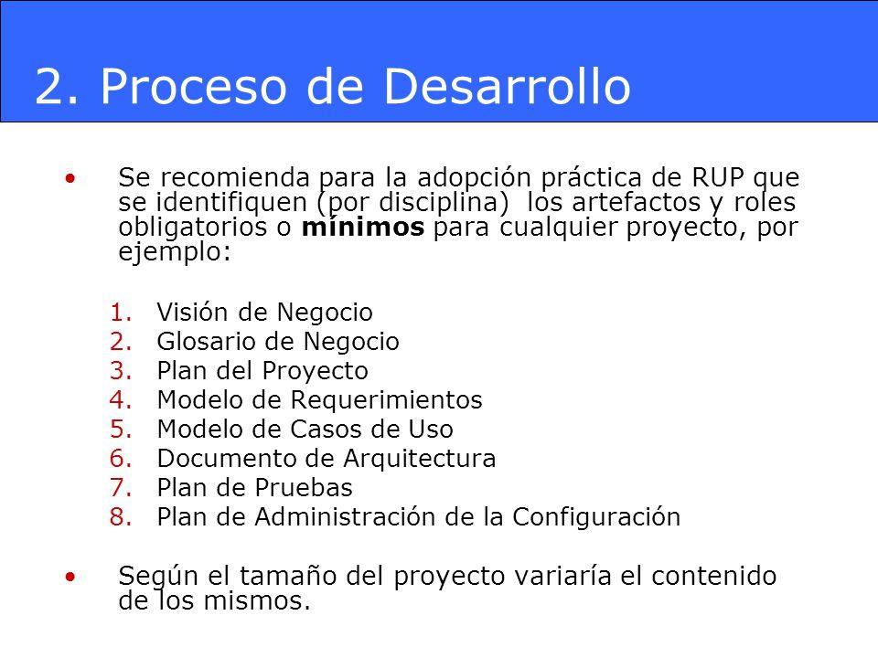 Se recomienda para la adopción práctica de RUP que se identifiquen (por disciplina) los artefactos y roles obligatorios o mínimos para cualquier proye