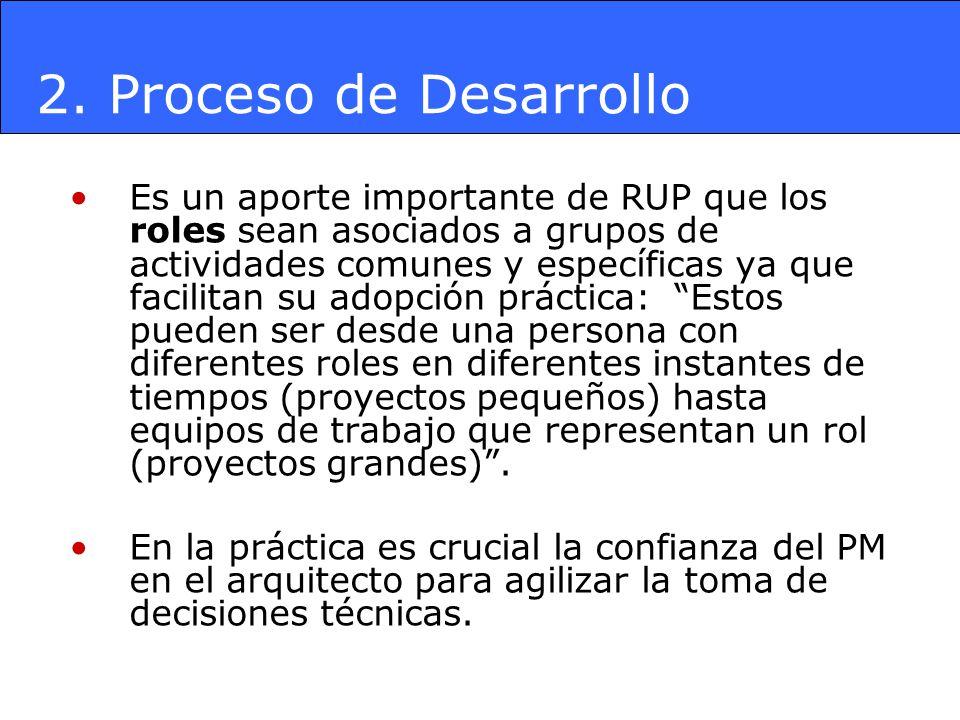 Es un aporte importante de RUP que los roles sean asociados a grupos de actividades comunes y específicas ya que facilitan su adopción práctica: Estos