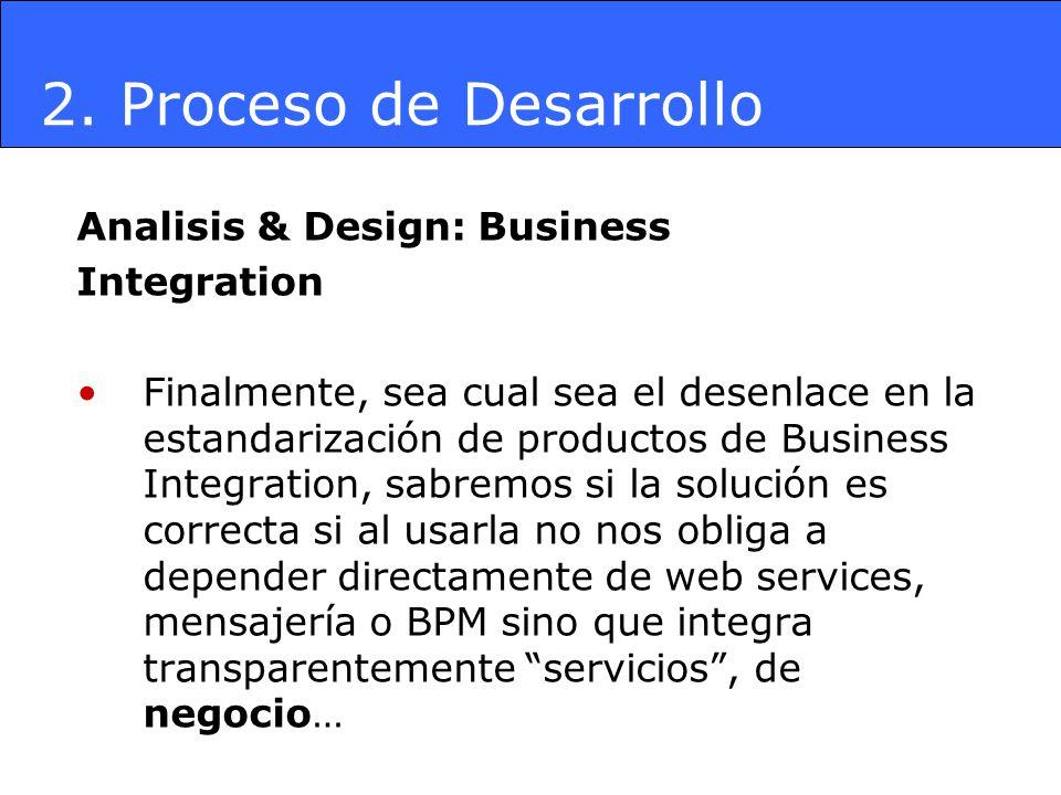 Analisis & Design: Business Integration Finalmente, sea cual sea el desenlace en la estandarización de productos de Business Integration, sabremos si