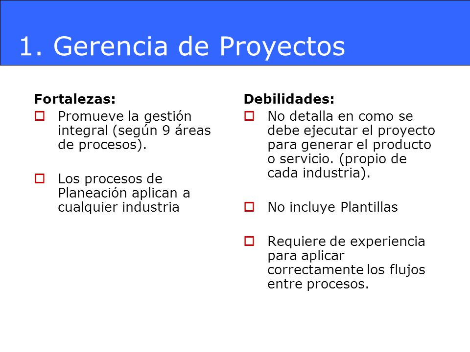 Fortalezas: Promueve la gestión integral (según 9 áreas de procesos). Los procesos de Planeación aplican a cualquier industria Debilidades: No detalla