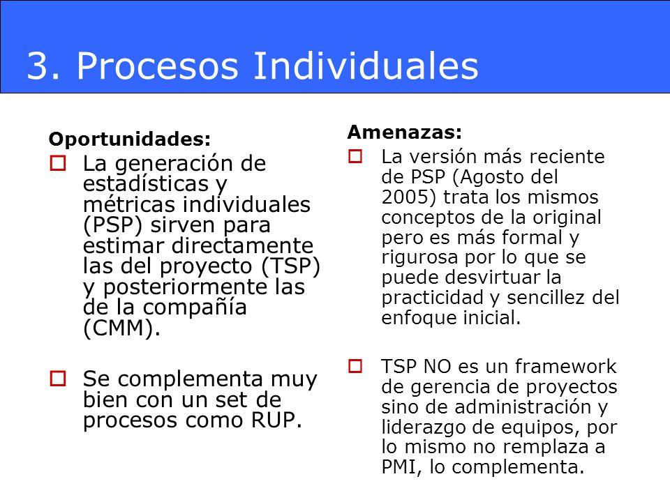 3. Procesos Individuales Oportunidades: La generación de estadísticas y métricas individuales (PSP) sirven para estimar directamente las del proyecto