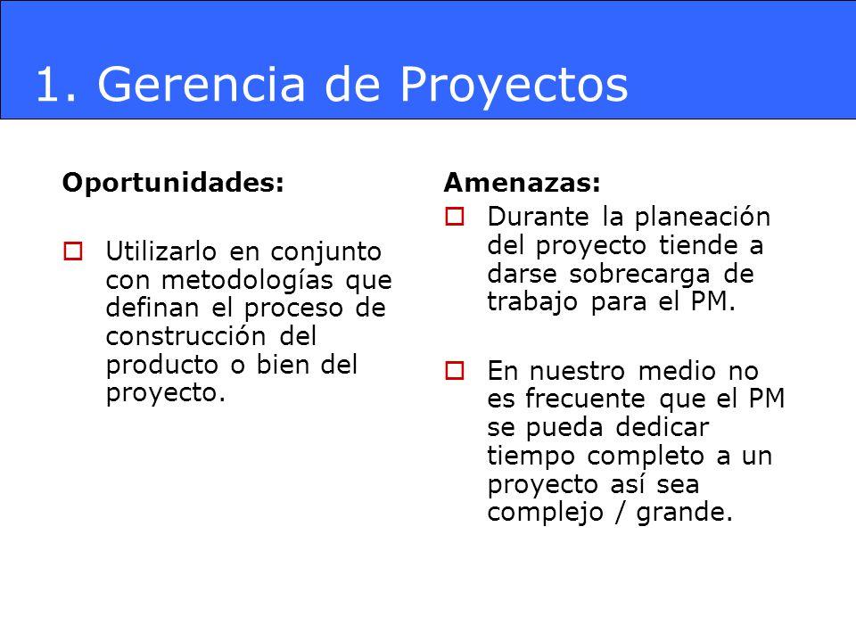 1. Gerencia de Proyectos Oportunidades: Utilizarlo en conjunto con metodologías que definan el proceso de construcción del producto o bien del proyect