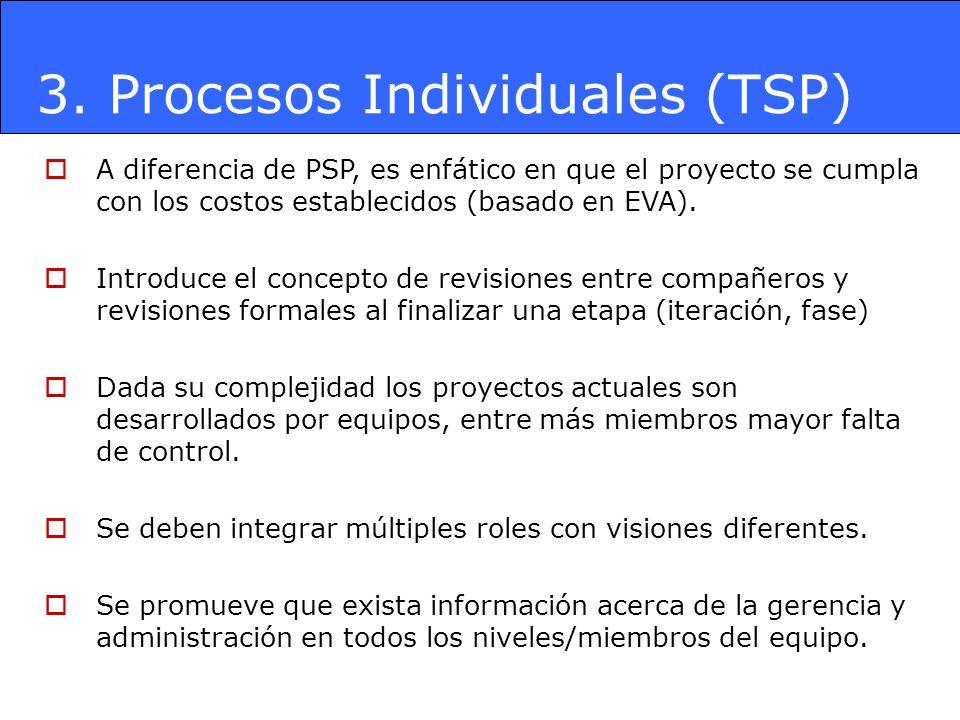 3. Procesos Individuales (TSP) A diferencia de PSP, es enfático en que el proyecto se cumpla con los costos establecidos (basado en EVA). Introduce el