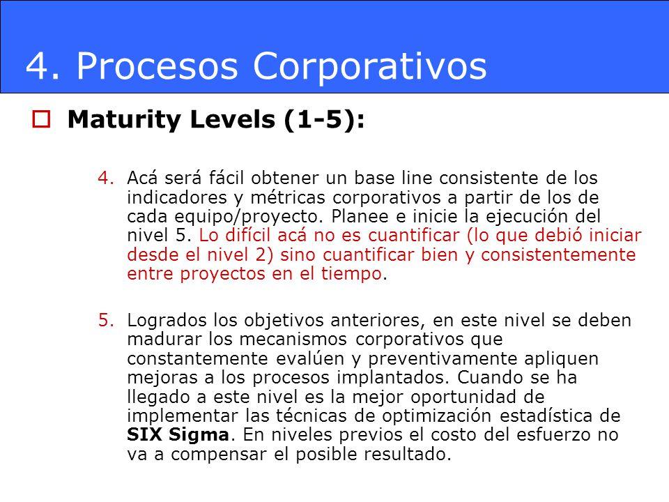 4. Procesos Corporativos Maturity Levels (1-5): 4.Acá será fácil obtener un base line consistente de los indicadores y métricas corporativos a partir