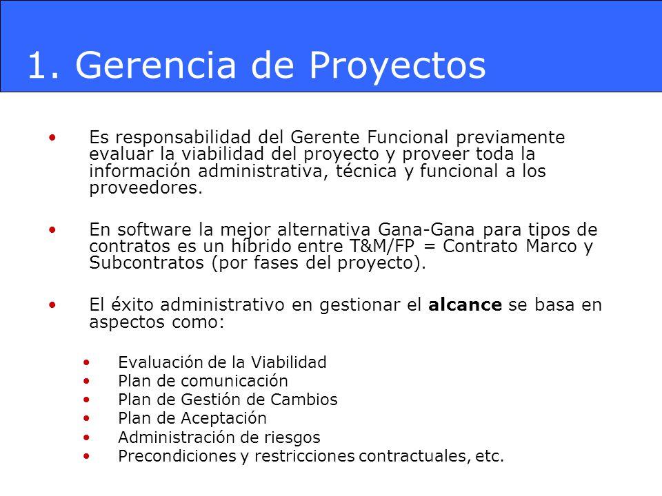 Es responsabilidad del Gerente Funcional previamente evaluar la viabilidad del proyecto y proveer toda la información administrativa, técnica y funcio