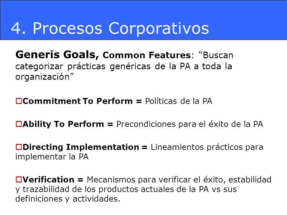 4. Procesos Corporativos Generis Goals, Common Features: Buscan categorizar prácticas genéricas de la PA a toda la organización Commitment To Perform