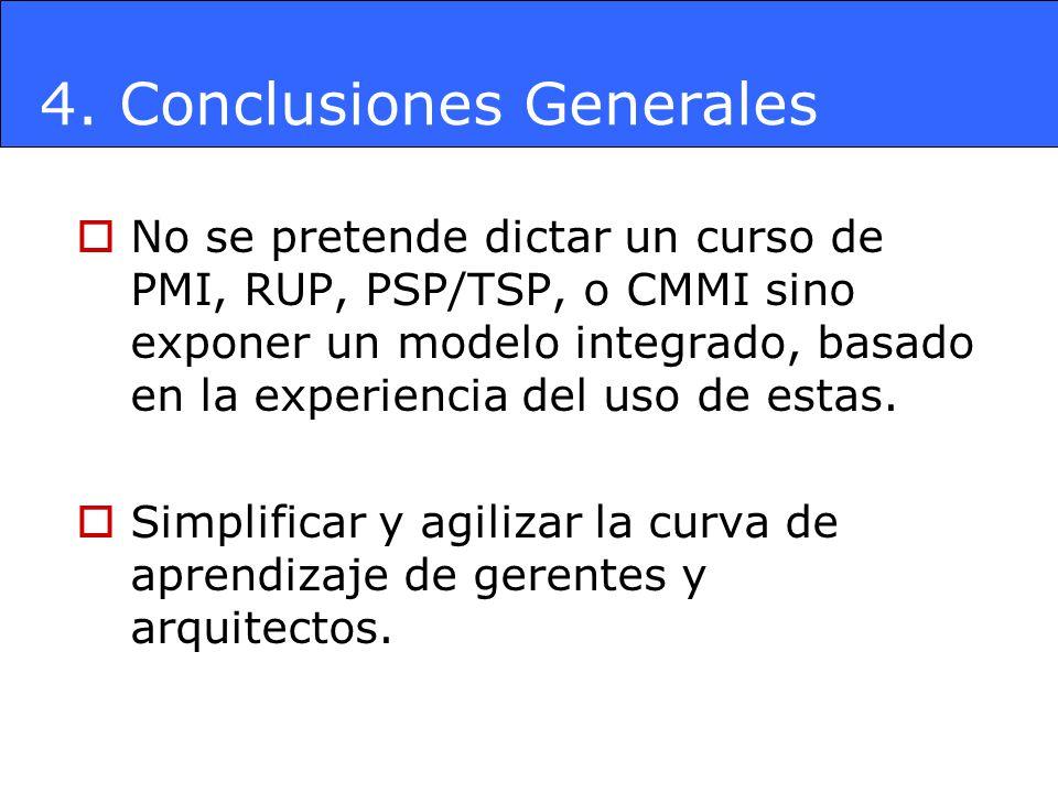 4. Conclusiones Generales No se pretende dictar un curso de PMI, RUP, PSP/TSP, o CMMI sino exponer un modelo integrado, basado en la experiencia del u