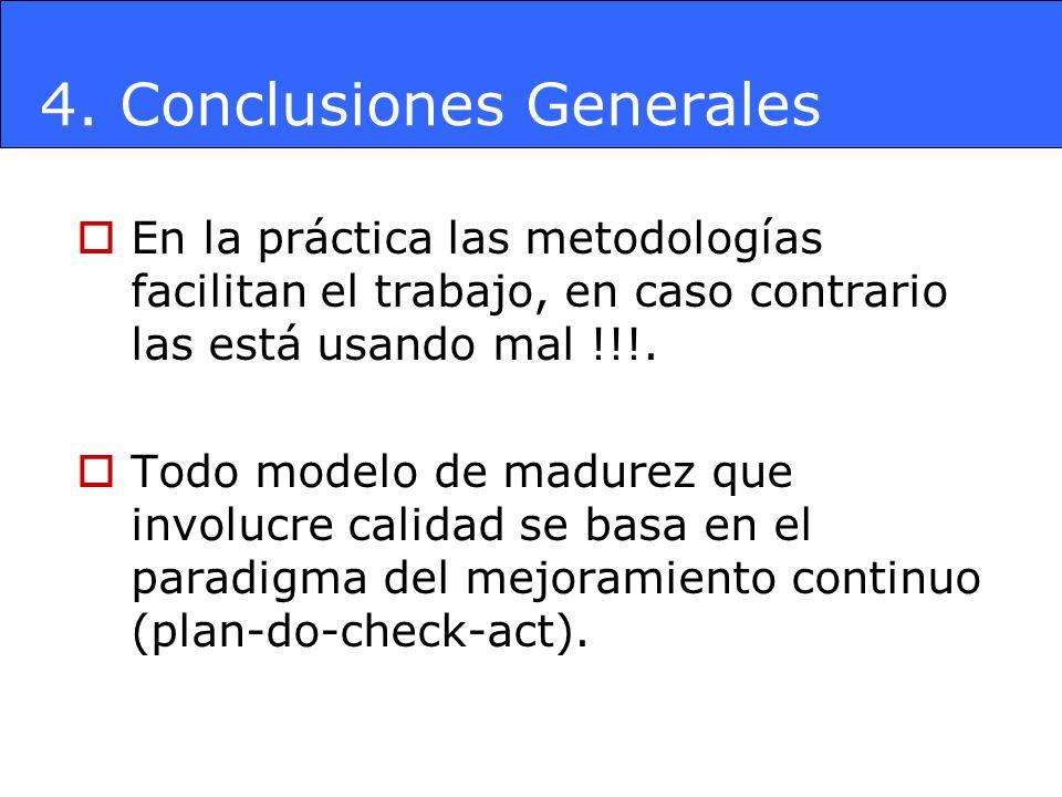 4. Conclusiones Generales En la práctica las metodologías facilitan el trabajo, en caso contrario las está usando mal !!!. Todo modelo de madurez que