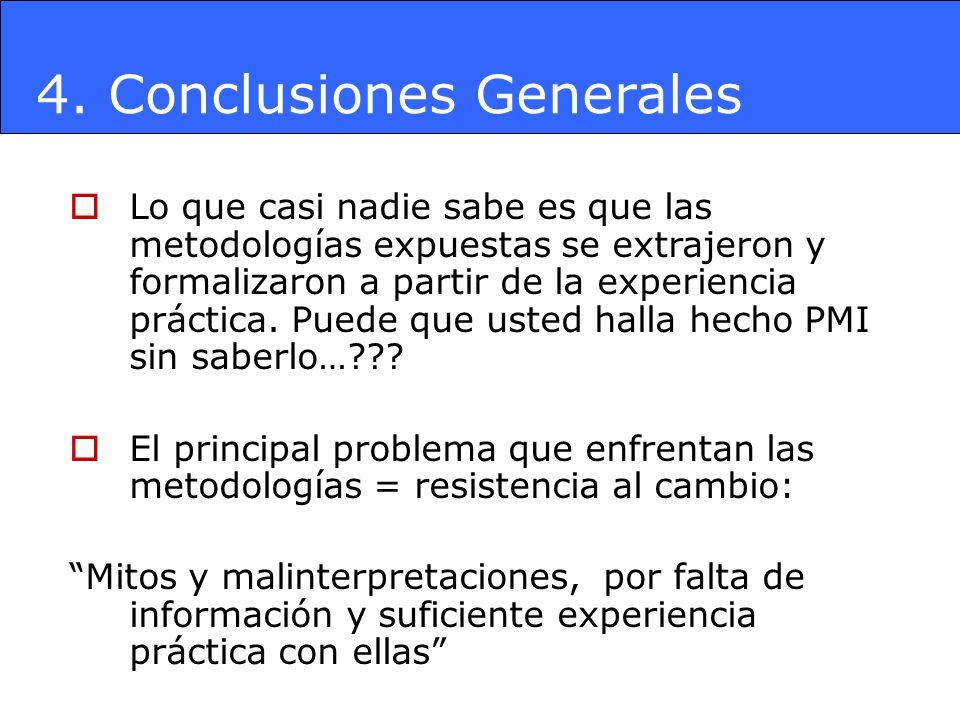 4. Conclusiones Generales Lo que casi nadie sabe es que las metodologías expuestas se extrajeron y formalizaron a partir de la experiencia práctica. P