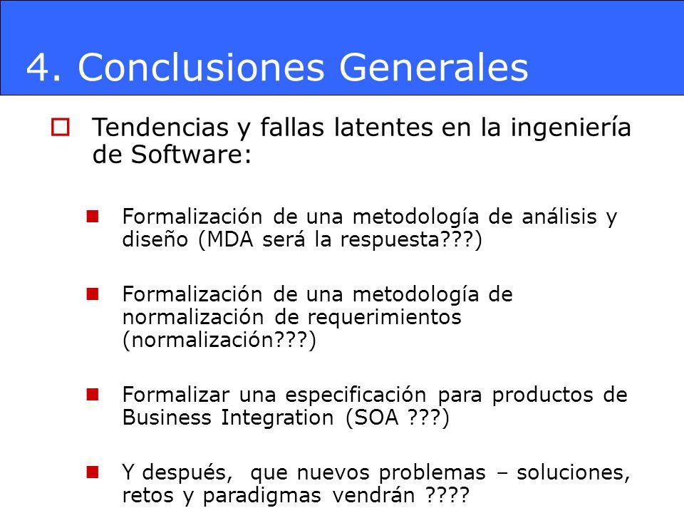 4. Conclusiones Generales Tendencias y fallas latentes en la ingeniería de Software: Formalización de una metodología de análisis y diseño (MDA será l