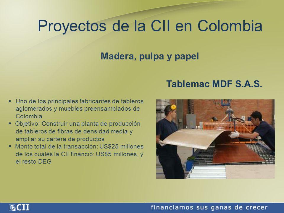 Proyectos de la CII en Colombia Madera, pulpa y papel Tablemac MDF S.A.S.