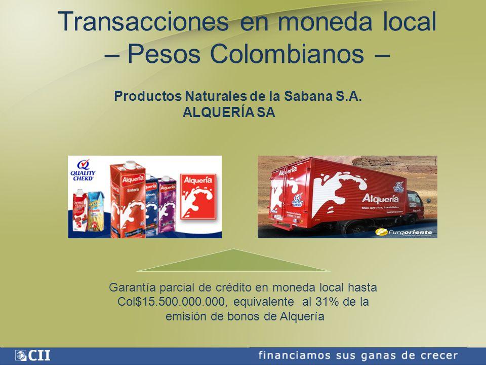 Garantía parcial de crédito en moneda local hasta Col$15.500.000.000, equivalente al 31% de la emisión de bonos de Alquería Productos Naturales de la Sabana S.A.