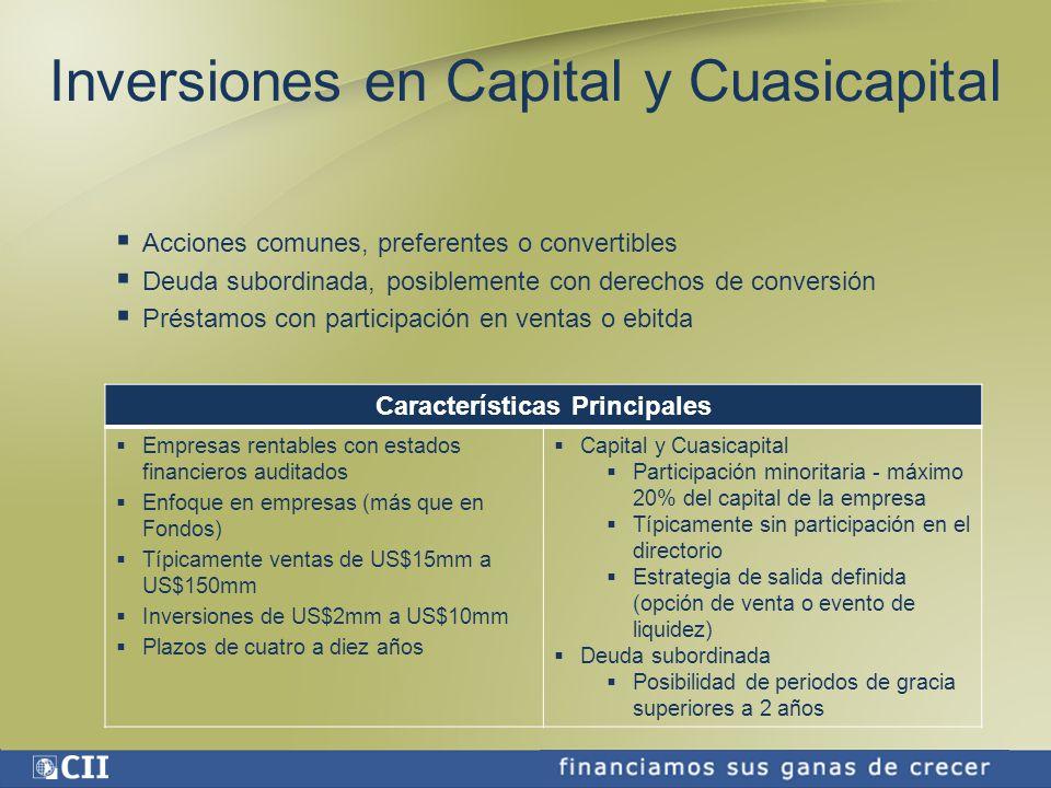 Proyectos de la CII en Colombia Proyectos de generación energética renovable Caruquia S.A: Planta hidroeléctrica a filo de agua, con 9,5 MW de potencia Préstamo de CII: US$7,65 millones, compuesto por deuda senior de US$6,45 millones y subordinado de US$1,2 millones Costo total del proyecto: US$21,8 millones Cofinanciado con la Corporación Financiera Internacional (CFI) Guanaquitas: Planta hidroeléctrica a filo de agua, con 9,8 MW de potencia Préstamo de la CII: US$7,85 millones, compuesto por deuda senior de US$6,55 millones y subordinado de US$1,3 millones Costo total del proyecto: US$22,4 millones Cofinanciado con la Corporación Financiera Internacional (CFI)