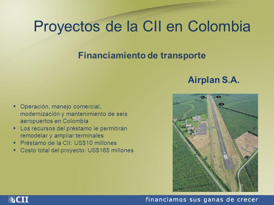 Proyectos de la CII en Colombia Textiles, ropa de vestir y cuero.