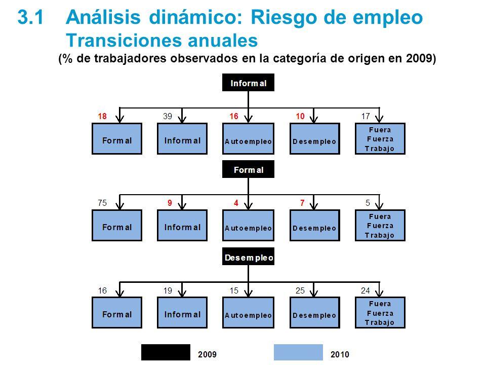 3.1Análisis dinámico: Riesgo de empleo Transiciones anuales (% de trabajadores observados en la categoría de origen en 2009)