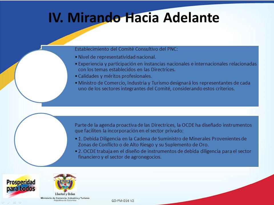 IV. Mirando Hacia Adelante GD-FM-016 V2 Establecimiento del Comité Consultivo del PNC: Nivel de representatividad nacional. Experiencia y participació