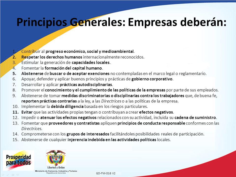 GD-FM-016 V2 Principios Generales: Empresas deberán: 1.Contribuir al progreso económico, social y medioambiental.