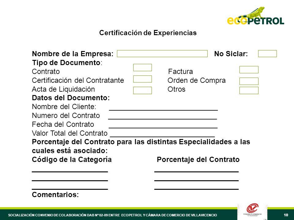 10 Certificación de Experiencias Nombre de la Empresa: No Siclar: Tipo de Documento: Contrato Factura Certificación del Contratante Orden de Compra Acta de Liquidación Otros Datos del Documento: Nombre del Cliente: ___________________________ Numero del Contrato ___________________________ Fecha del Contrato ___________________________ Valor Total del Contrato __________________________ Porcentaje del Contrato para las distintas Especialidades a las cuales está asociado: Código de la Categoría Porcentaje del Contrato ___________________ _____________________ Comentarios: SOCIALIZACIÓN CONVENIO DE COLABORACIÓN DAB Nº 02-09 ENTRE ECOPETROL Y CÁMARA DE COMERCIO DE VILLAVICENCIO