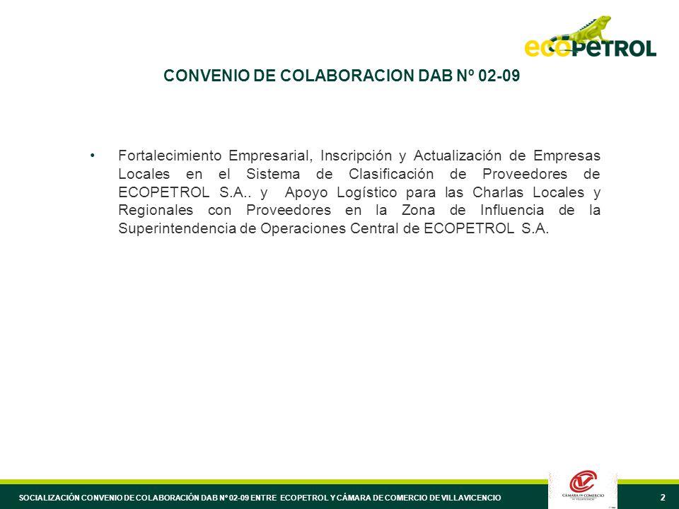 2 CONVENIO DE COLABORACION DAB Nº 02-09 Fortalecimiento Empresarial, Inscripción y Actualización de Empresas Locales en el Sistema de Clasificación de Proveedores de ECOPETROL S.A..