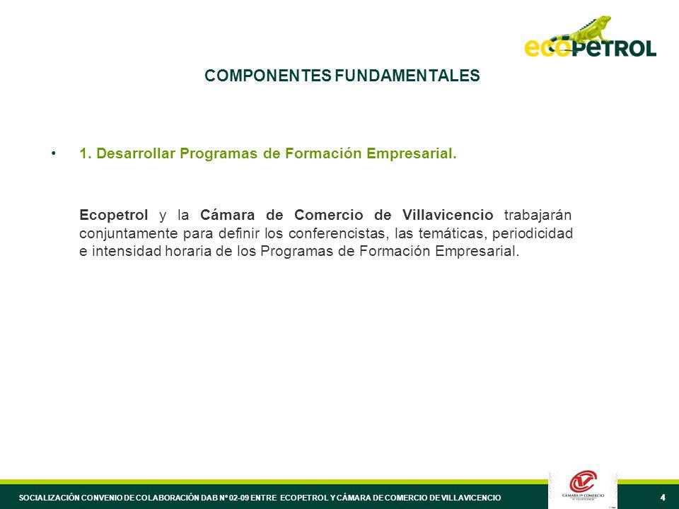 44 COMPONENTES FUNDAMENTALES 1. Desarrollar Programas de Formación Empresarial.