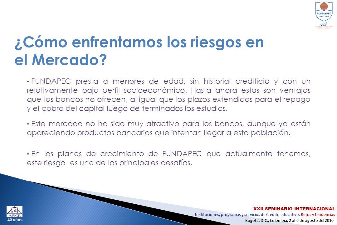 Instituciones, programas y servicios de Crédito educativo: Retos y tendencias XXII SEMINARIO INTERNACIONAL Bogotá, D.C., Colombia, 2 al 6 de agosto del 2010 40 años ¿Cómo enfrentamos los riesgos en el Mercado.