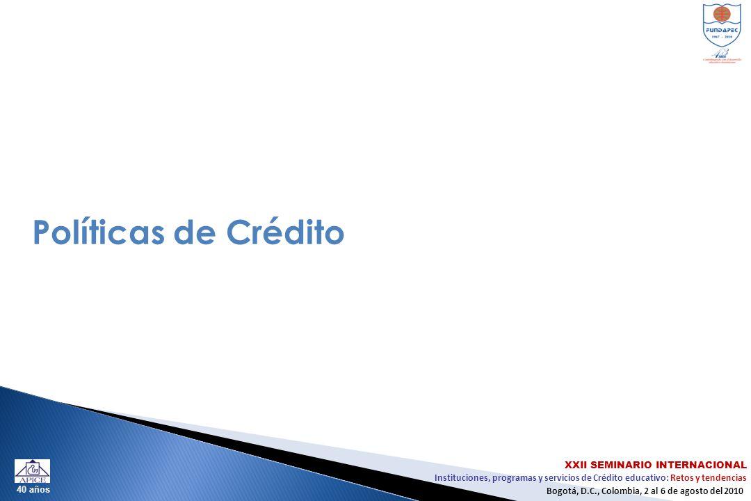Instituciones, programas y servicios de Crédito educativo: Retos y tendencias XXII SEMINARIO INTERNACIONAL Bogotá, D.C., Colombia, 2 al 6 de agosto del 2010 40 años Políticas de Crédito