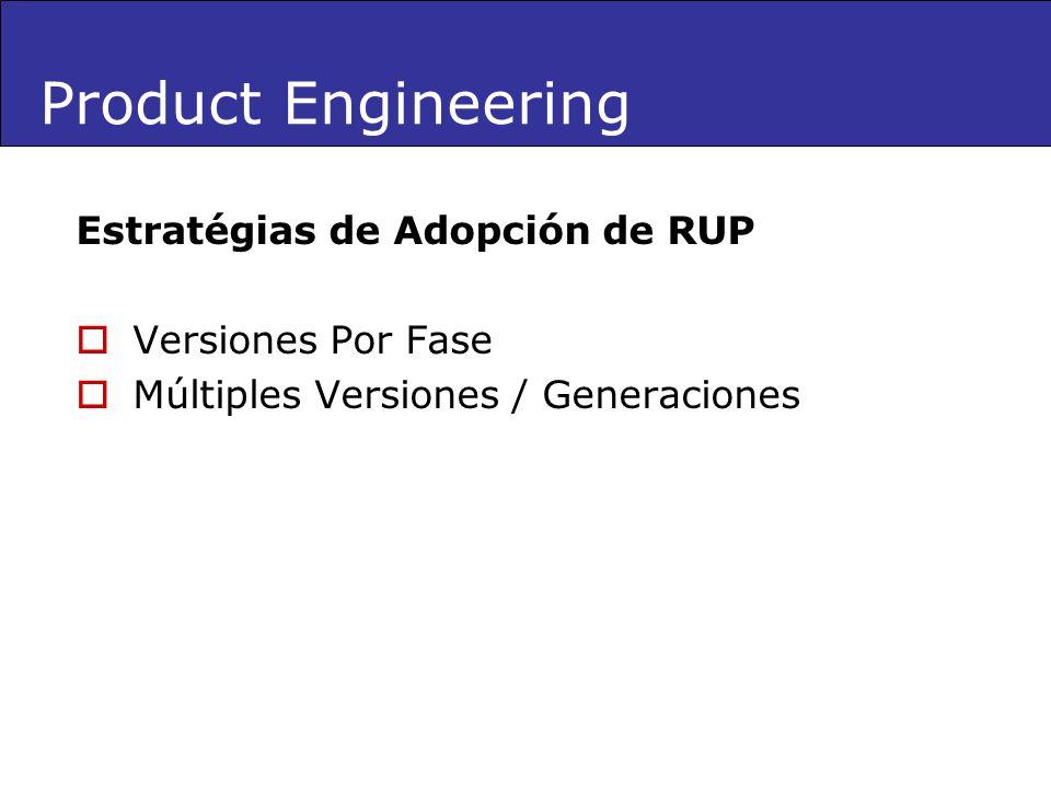 Product Engineering Estratégias de Adopción de RUP Versiones Por Fase Múltiples Versiones / Generaciones