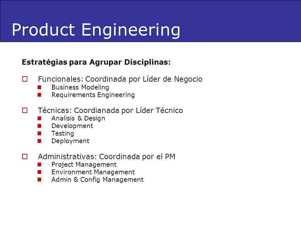 Product Engineering Estratégias para Agrupar Disciplinas: Funcionales: Coordinada por Líder de Negocio Business Modeling Requirements Engineering Técn